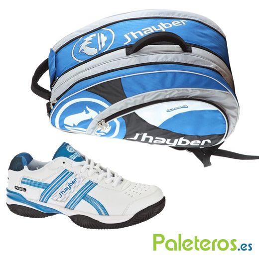 Zapatillas blancas-azules y paletero de Jhayber