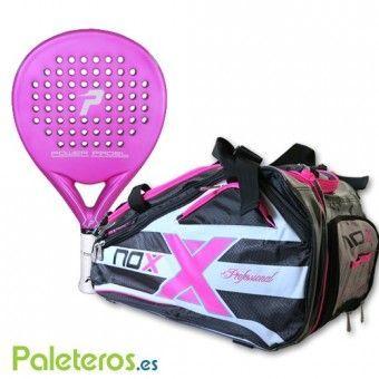 Pala Pink de Power Padel y paletero rosa de Nox