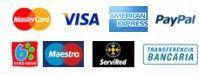 Pago con tarjeta, paypal, ingreso o transferencia bancaria