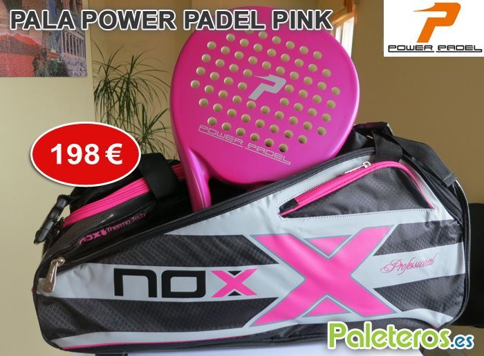 Pala Power Padel Pink + paletero rosa de Nox