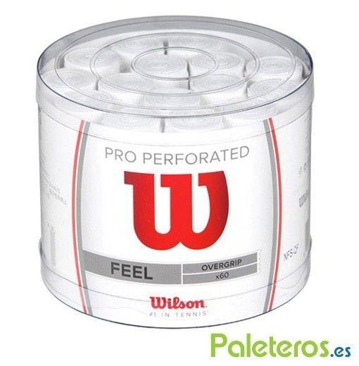 Tambor de 60 overgrips Wilson Pro blancos perforados