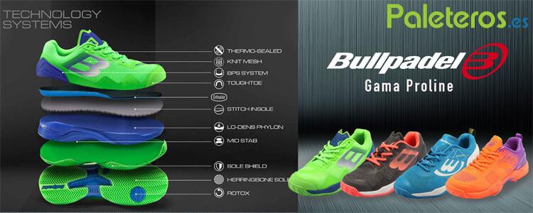 Tecnologías zapatillas Bullpadel gama proline