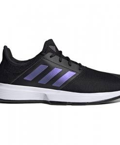 Zapatilla Adidas Gamecourt negras perfil