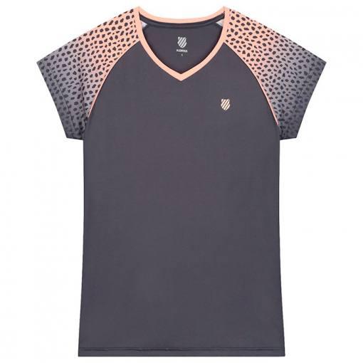 camiseta K-Swiss hypercourt gris y rosa